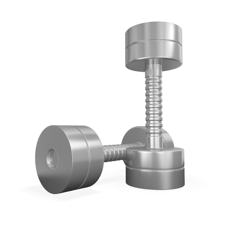 muskelaufbau: Dieses 3D-Darstellung ist aus einem Paar von Chrom oder Stahl-Metall-Hanteln. Es wird Verwendung in Gesundheit und Fitness Konzepte wie Bodybuilding, Training, Krafttraining und Muskelaufbau-Konzepte zu finden. Lizenzfreie Bilder