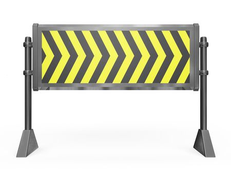 diversion: This 3D illustration is of a metallic road block barricade. This is ideal for under construction, work in progress and danger warning concepts. Stock Photo