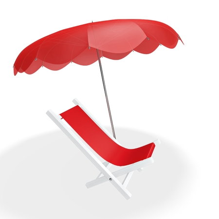 recliner: A 3D illustration of a red sun beach lounger under a parasol, isolated on white. Ideal for tourism, solitude, holidays and beach vacation related concepts. Stock Photo