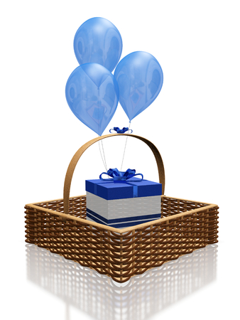 gifting: This 3D illustration is of a gift box with blue bow and ribbon, placed in a straw knit square shaped basket, with blue balloons behind it. Ideal for use in gifting, celebration, birthday and anniversary themes.