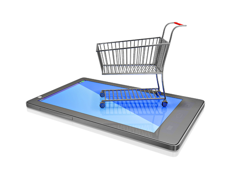 A 3D illustration of a small steel shopping cart placed on the screen of a touch screen smartphone. Ideal fro use in mobile shopping concepts.