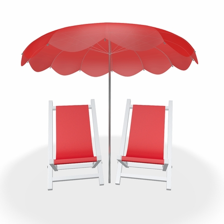 A 3D illustration of front view of two white sun beach loungers with red cloth, lying under a parasol, isolated on white. Ideal for use in travel, vacation, holidays and romance concepts. Stock Photo