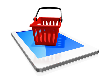 touch screen phone: A 3D illustration of a red plastic shopping basket on a white touch screen smart phone. Can be used as an icon for a mobile app or in mobile shopping concepts. Stock Photo