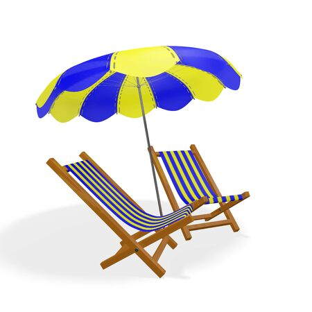 A 3D illustration of two blue and yellow striped beach loungers or chairs placed under a matching parasol, isolated on white. Ideal for use in beach holiday, travel, relaxation and romance concepts. Stock Photo