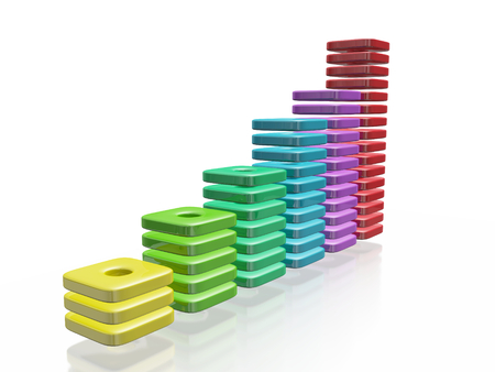 A 3D illustration of a business growth bar chart made of colorful thin blocks. It can be used to in financial and business growth concepts.