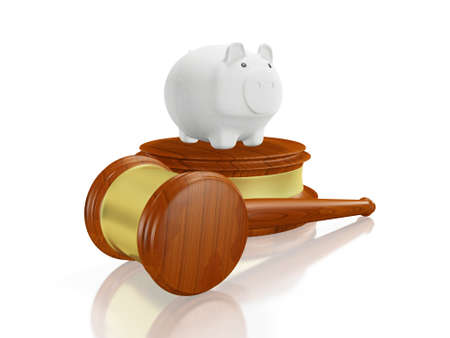 A 3D illustration of a white savings piggy bank on a block of wood with a judges wooden gavel or mallet lying in front of it. It can be used in financial and legal concepts.