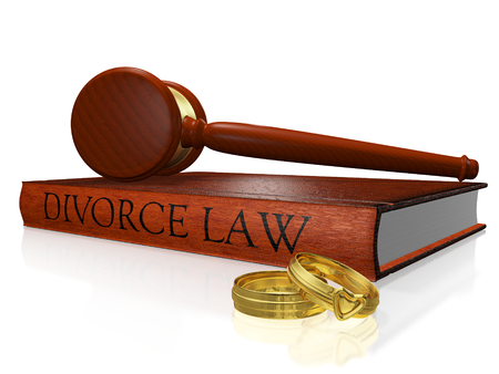 A 3D illustration of divorce concept, with a wooden judges mallet or gavel resting on a hard bound divorce law book and two gold wedding bands or rings lying alongside.