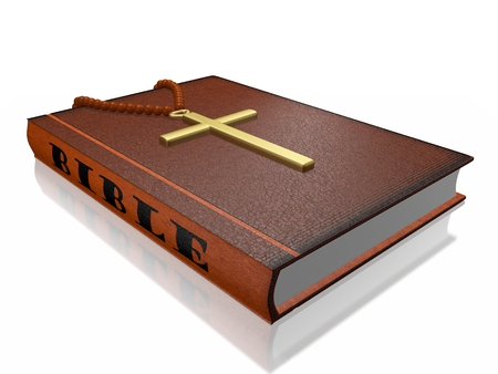 Hard bound Bible book with a rosary and a golden cross attached to it. This 3D illustration will find use in religious and spiritual concepts. Stock Photo