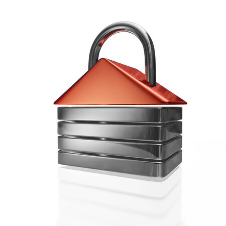 A 3D illustration of a security lock made in  the shape of a house. It can be used for both online data security as well as home security concepts.