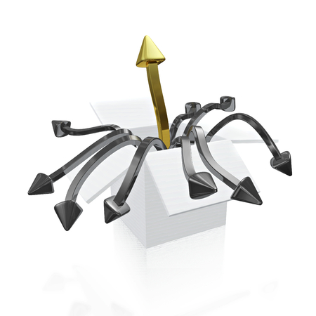 A 3D illustration of one golden arrow rising upwards and some twisted silver arrows falling downwards, coming out of a white box. Ideal for use in strategic business concepts like unique opportunity, outstanding growth, survival and strategic choice or de