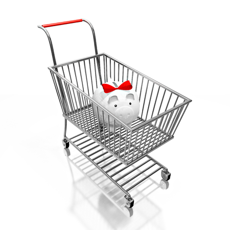 A 3D illustration of a white savings piggy bank lying in a chrome or steel shopping cart, isolated on white. Ideal for use in brochures for showing discount offers and price rebate sales.