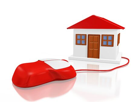 A 3D illustration of a computer mouse attached to a house. Ideal for use in online property sale, purchase and renting concepts. Stock Photo