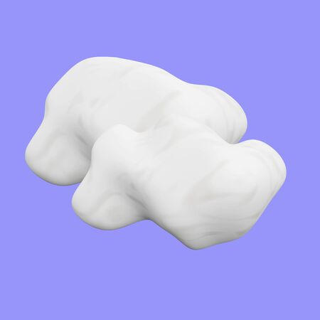 A 3D illustration of two white clouds against a blue background. It can be used both for cloud computing concepts as well as weather concepts.