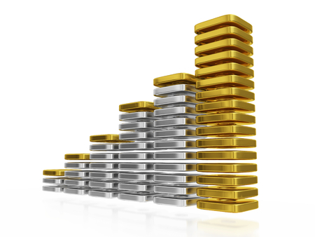 A 3D illustration of  business or financial growth bar chart made of thin blocks of silver and gold. The tallest bar is made of gold blocks and others are made of silver blocks.