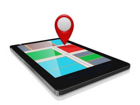 A 3D illustration of a red blank map marker standing on a touch screen smart phone, with an abstract route map displayed on the mobile screen. Ideal for use as a GPS mobile application icon or for mobile map and route finding concepts.