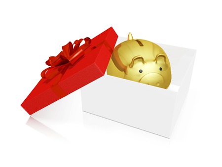 A 3D illustration of a gold savings piggy bank inside a gift box with the open lid on the side, decorated with red bow and ribbon. Ideal for use in gifting, saving on gift shopping and financial savings concepts.
