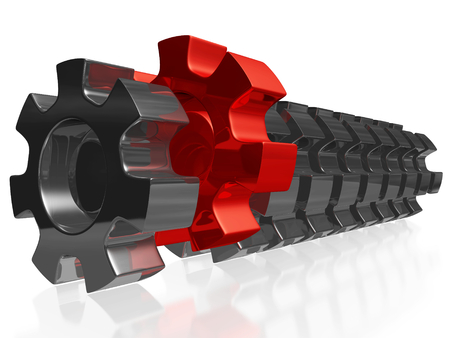 A 3D illustration of a row of steel or chrome mechanical gears, with one red gear pushed outside the row. Can be used in all leadership, uniqueness and business success concepts. Stock Photo
