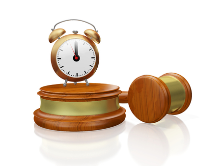 A 3D illustration of an antique style alarm clock placed on a wooden block with the judges gavel or mallet placed along side. Ideal for use in business strategic decision making auction and legal concepts.