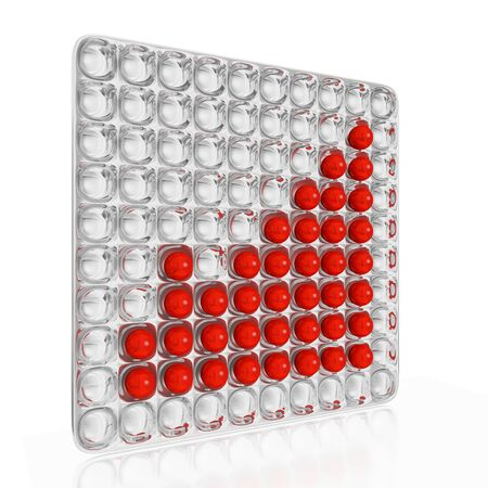 A 3D illustration of a business or financial growth bar chart represented with red balls or spheres placed on a grooved steel or chrome tray. Ideal for use in strategic business or financial growth concepts.