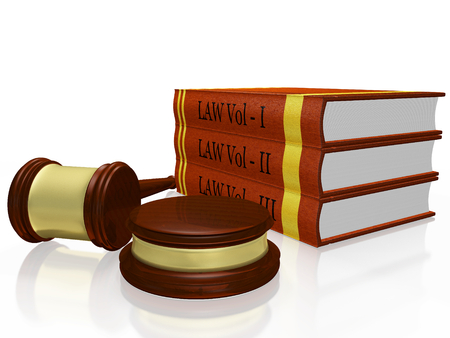 A 3D illustration of a stack or pile of three volumes of hardbound law books, with a wooden judges gavel or mallet and block placed in front of it. It can be used all legal concepts as also for the concept of legal education or degree in law. Stock Photo