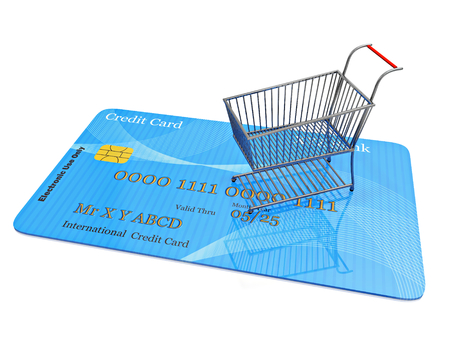 A 3D illustration of a tiny steel shopping cart placed ona flat lying credit card, isolated on white.