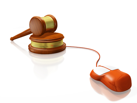 A 3D illustration of a computer mouse connected to a wooden judges mallet or gavel, resting on its block. Ideal for use in cyber law concepts and online auction. Stock Photo