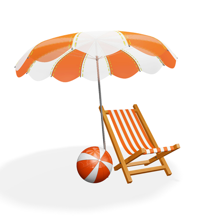 A 3D illustration of an orange and white striped beach lounging chair under a parasol and a beach ball lying near it, all isolated on white. Ideal for use in tourism, beach holiday, recreation and relaxation themes. Stock Photo