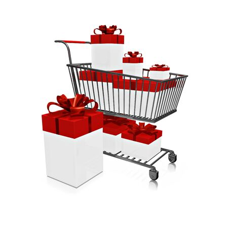 A 3D illustration of a steel shopping cart full of white gift boxes with red lids decorated with red ribbons and bow, isolated on white. Ideal for use in festive shopping concepts.