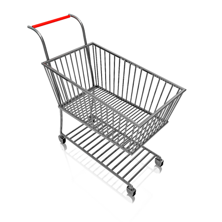 A 3D illustration of a steel or chrome shopping cart, isolated on white. Stock Photo