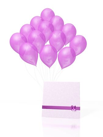 A 3D illustration of a big bunch of pink balloons and a blank card decorated with a ribbon and bow lying in front of it. The card has ample copyspace to insert message or text. Can be used for both for conveying wishes and for writing invitations.