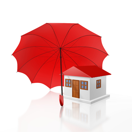 roof house: A 3D illustration of a small house with red roof, protected by a big red umbrella. Ideal for use in home security and property insurance concepts.