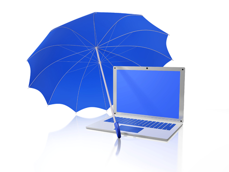 A 3D illustration of a white laptop computer, with a blank blue screen that can be used as copyspace, protected under a blue umbrella, isolated on white. Ideal for use in data security, password protection, data encryption and such other computer safety c