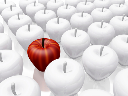A 3D illustration of a bright red apple placed amidst plain white ceramic apples. Ideal for concepts related to leadership, uniqueness and success.