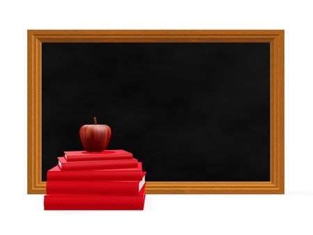 This 3D illustration shows a stack of red hard bound books with a red apple on top, placed in front of a blackboard. Ideal for use in education and schooling concepts like back to school, homework, timetable or study plan.