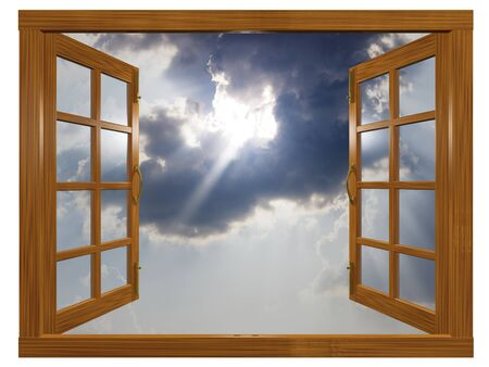 A 3D illustration of a cloudscape view from a wooden window, with sun rays beaming out of the clouds.