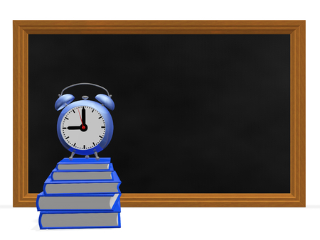A 3D illustration of stack of blue notebooks, with an alarm clock placed on top of it, in front of a blackboard. It can be used in back to school, homework and similar educational concepts. The black board has lot of copy space.