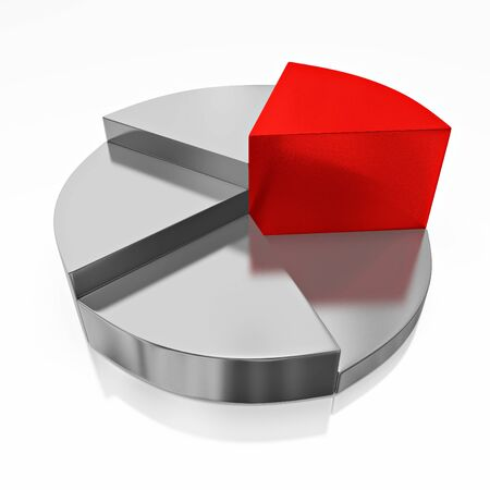 A 3D illustration of a business or financial pie chart, showing stepwise growth, with the highest sector in red color while all others are chrome or steel colored. Can be used in business and financial presentations to show sector wise growth.