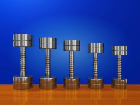 A 3D illustration of a row of chrome or steel bodybuilding dumbbells, on a plank of wood, arranged in a decreasing size or weight. Can be used in fitness, exercising, bodybuilding and home gym equipment concepts.