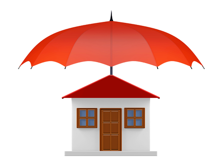 weather protection: A 3D illustration of front view of a house with a red umbrella covering it. Ideal for use in housing security and property insurance concepts.