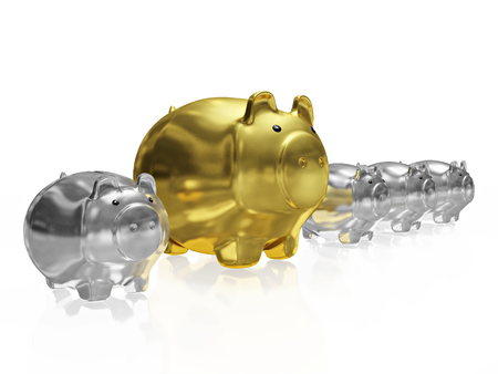 A 3D illustration of a big golden savings piggy bank placed within a row of small silver piggy banks. It can be used for showing unique savings or high earnings opportunity. Stock Photo
