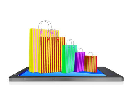A 3D illustration of a bunch of patterned paper shopping bags of different sizes placed on the screen of a touch screen smartphone.  Ideal for use in mobile shopping concepts or as an app icon.