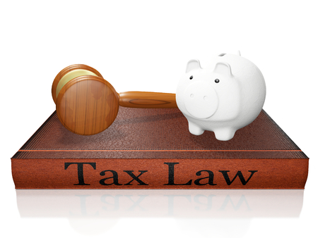 A 3D illustration of a savings piggy bank lying on a taxation law hardbound book and a judges gavel or mallet placed alongside, isolated on white. Ideal for use in tax savings and financial legal concepts.