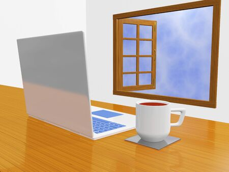 A 3D illustration of white laptop computer with a coffee mug placed on a wooden desk facing an open window, through which the sky can be seen.