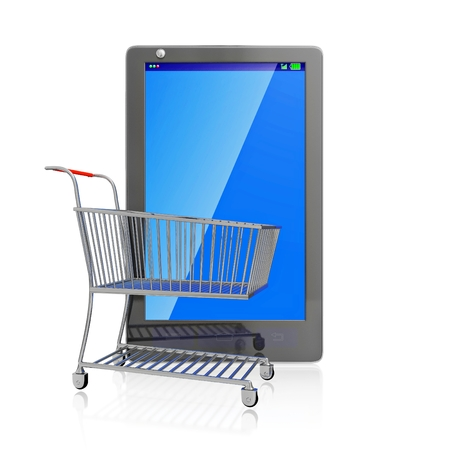 A 3D illustration of a small steel shopping cart placed in front of a vertical standing touch screen smartphone with a blank blue screen which can be used as copy space, isolated on white. Ideal for use in mobile shopping concepts.