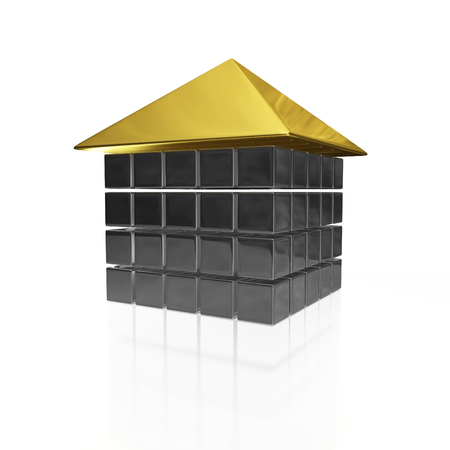A 3D illustration of a house shape made of silver or steel cubes and a slanting gold roof placed on top. It can be used in real estate and housing concepts as well as data storage or technology concepts.
