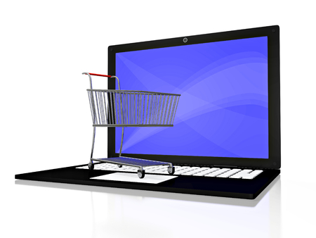 A 3D illustration of a small steel shopping cart placed on the keyboard of a laptop computer, isolate on white. Can be used in online shopping concepts.