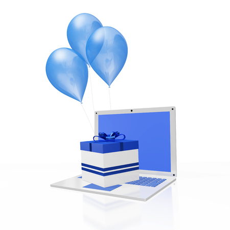A 3D illustration of a gift box with blue bow and ribbon, placed one white laptop computer, with balloons in the background. It will find use in gifting concepts, particularly ordering online gifts.