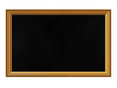 A blank black board with a wooden frame, and lots of copy space. It can be used for displaying messages, announcements or in educational concepts.