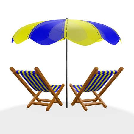 A 3D illustration of back view of two wooden sun beach loungers with yellow and blue striped cloth, lying under a parasol, isolated on white. Ideal for use in travel, vacation, holidays and romance concepts. Stock Photo