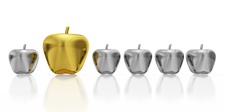 A 3D illustration of one big gold apple placed in a row of small silver apples. Ideal for use in unique concepts.